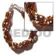 12 Rows Brown/white Twisted Glass Beads Bracelet